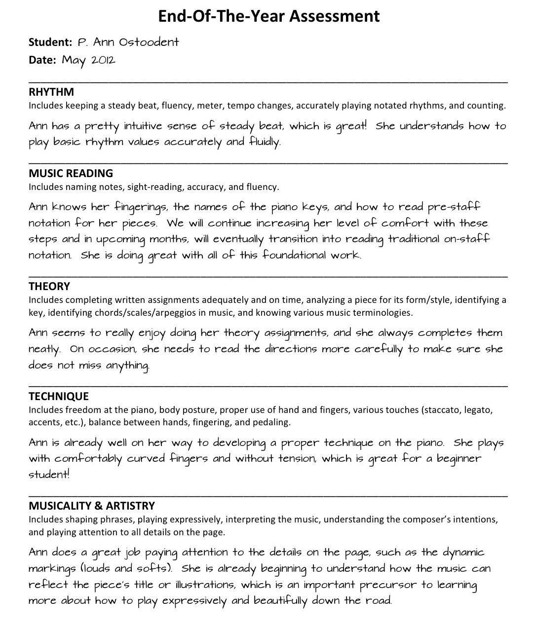 Assessment Report Sample For Preschool