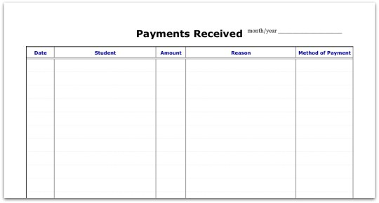 Record of Payments Received