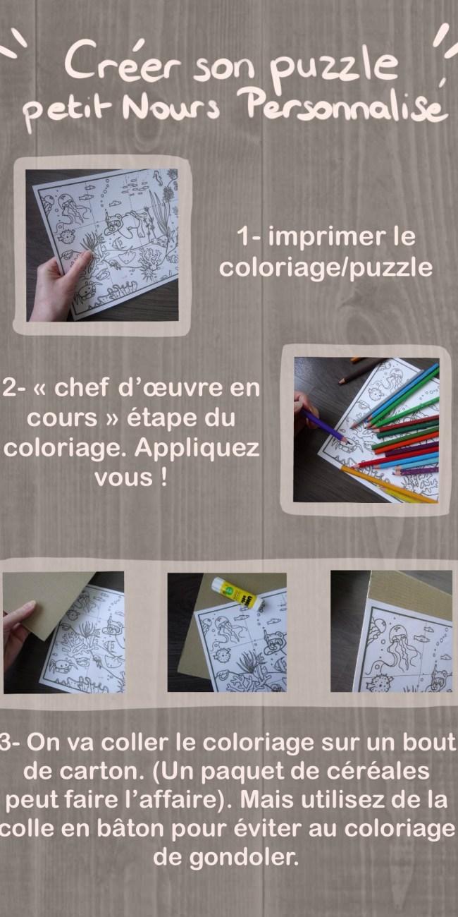 Illustration : tutoriel pour construire son coloriage puzzle petit Nours