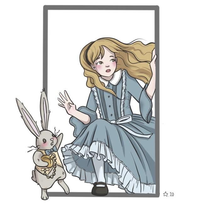 Illustration : Alice au pays des merveilles art digital