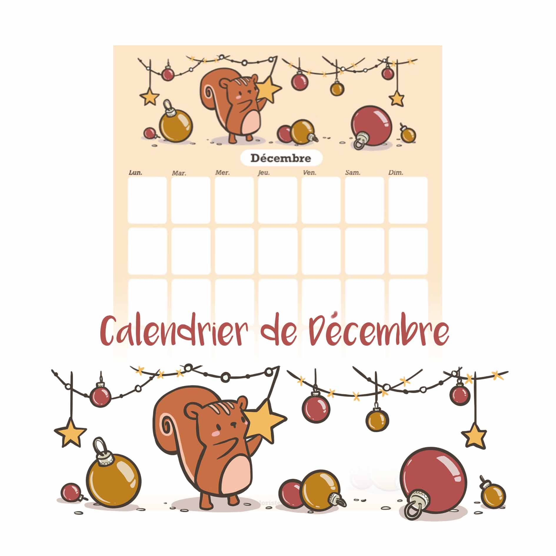 illustration : calendrier de décembre à télécharger
