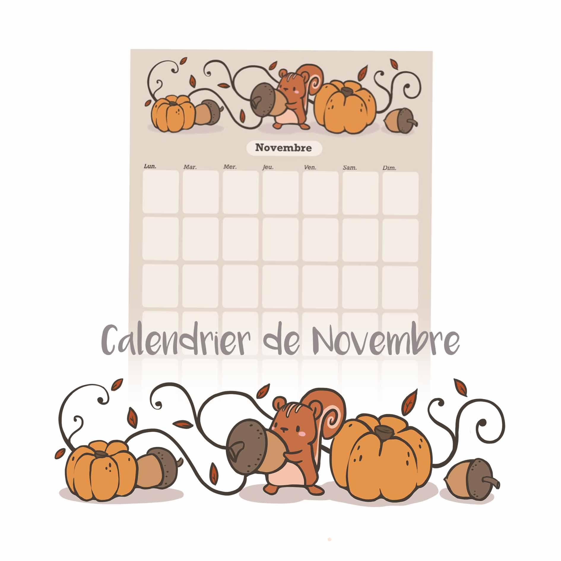 Illustration : calendrier de novembre illustré à télécharger