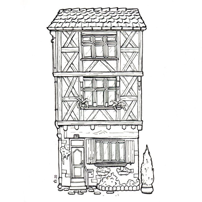 Illustration : maison à colombage à l'encre de chine