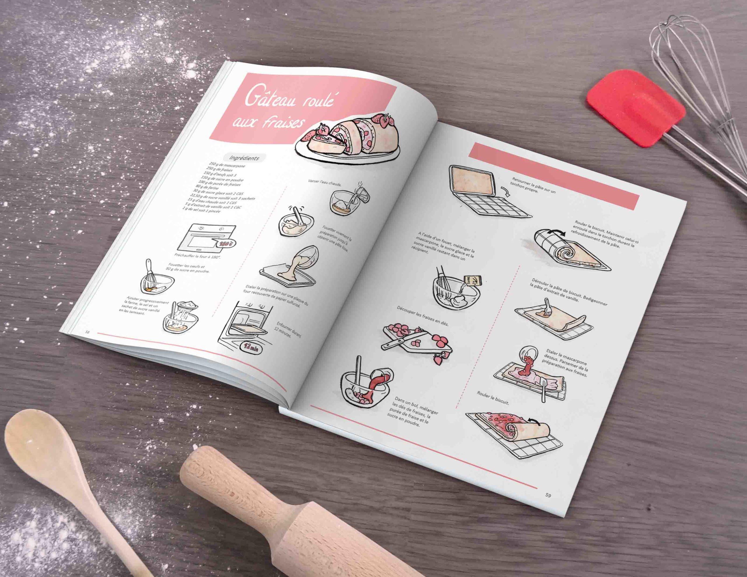 Illustration : photo du livre de recette avec recette illustrée du roulé aux fraises