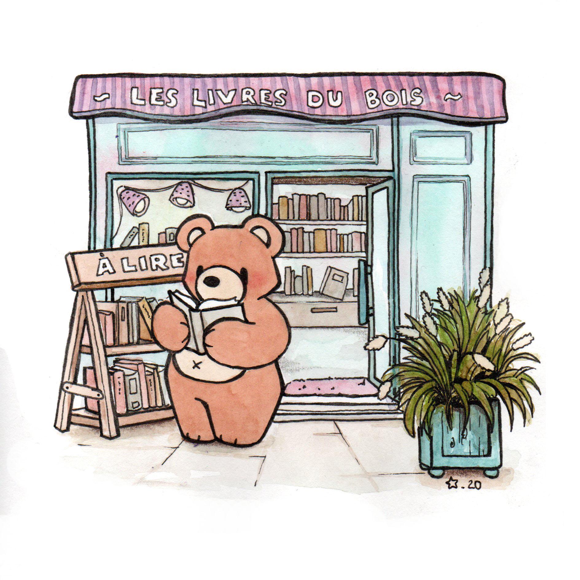 Illustration : Petit Nours à la librairie ,Représentation à l'aquarelle de petit Nours à l'aquarelle