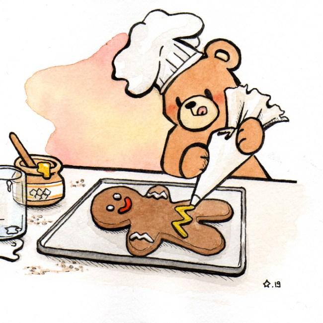 Illustration : Petit Nours préparant un bonhomme en pain d'épices à l'aquarelle