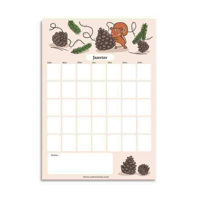Illustration : calendrier de janvier gratuit a telecharger
