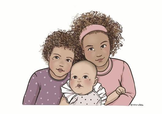 Illustration : portrait de trois filles. Art numérique