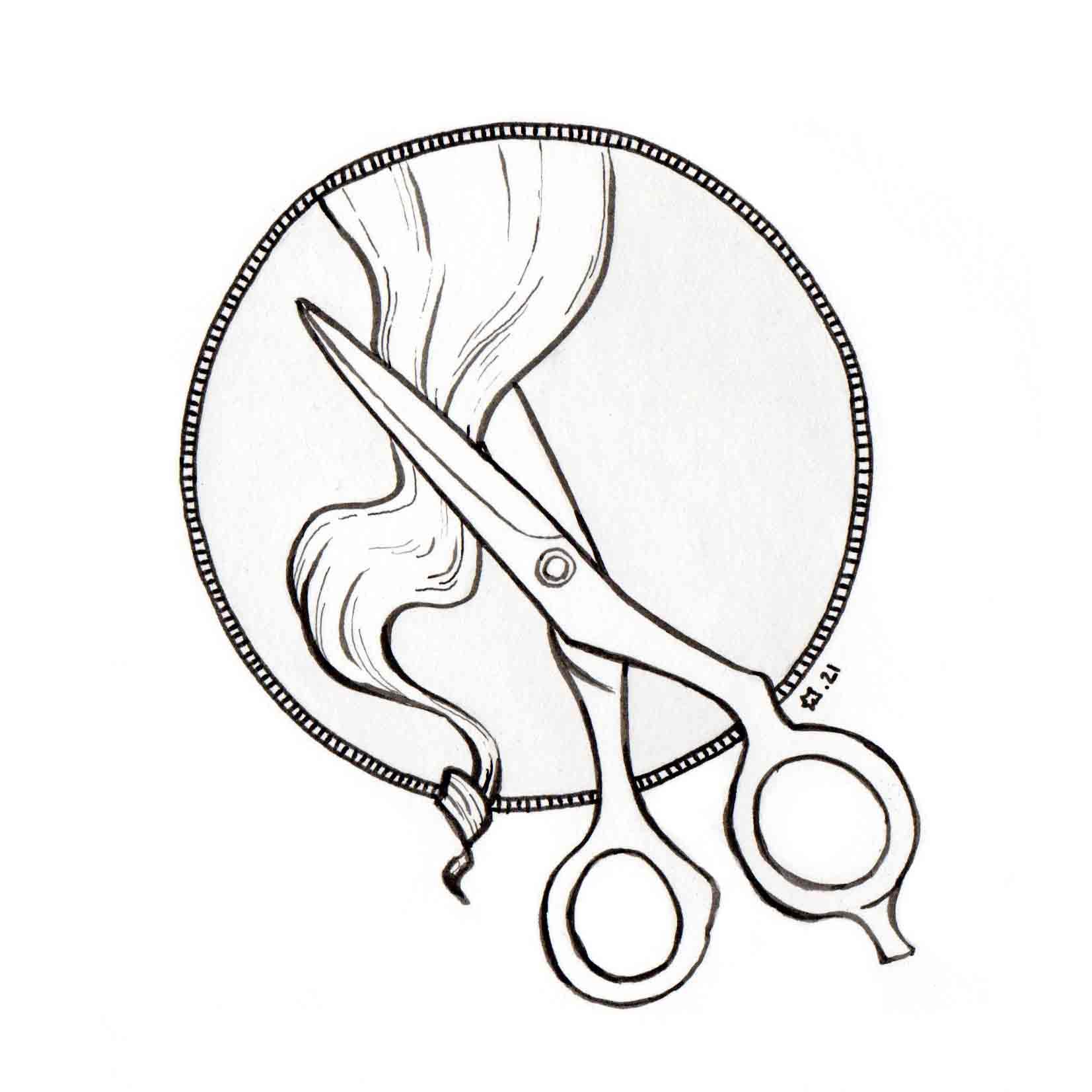 illustration : logo coiffure. Encre de chine. ligne claire