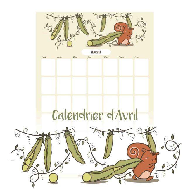 Illustration : calendrier d'avril à tétécharger