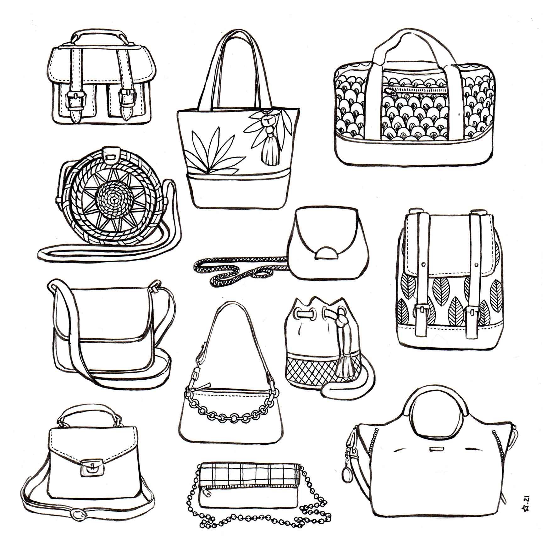 Illustration : accumulation sacs femme. Dessin à l'encre de chine
