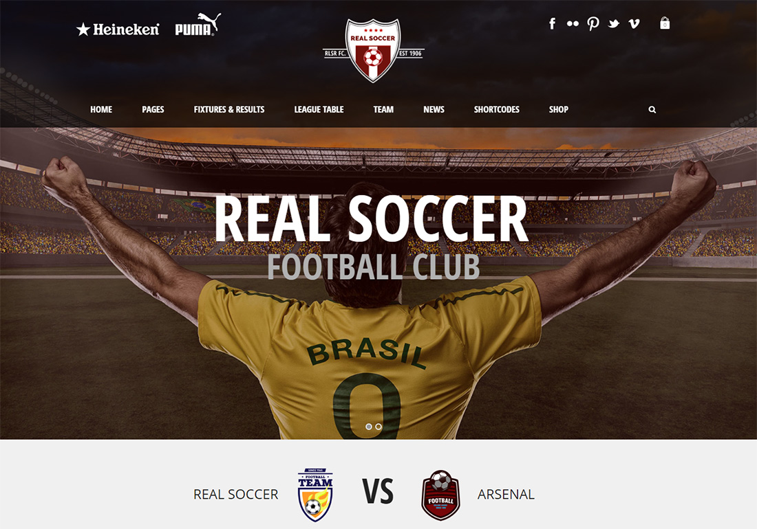 Real Soccer WordPress Golf Theme