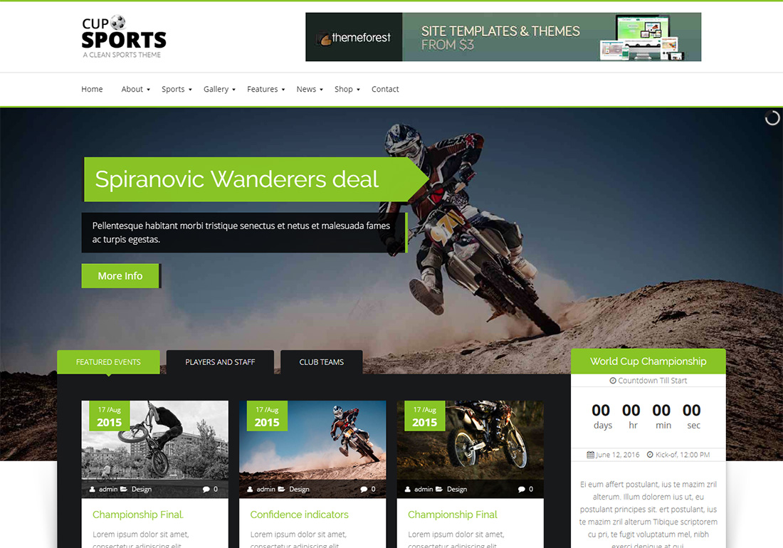 Sports Cup WordPress Golf Theme