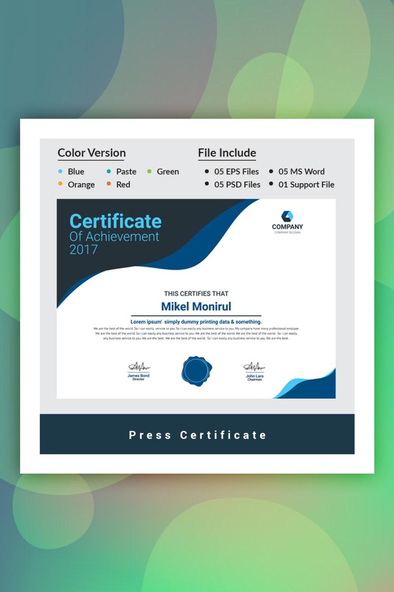 Plantilla de certificado de prensa