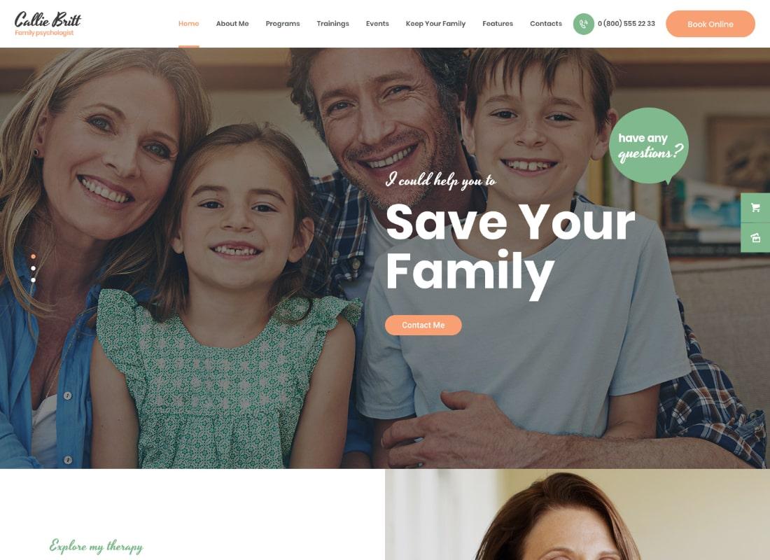 Callie Britt | Tema de WordPress de psicología de consejería familiar