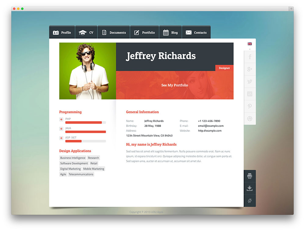 Wordpress Resume resume builder screenshot 2 30 Best Vcard Wordpress Themes 2016 For Your Online Resume Colorlib