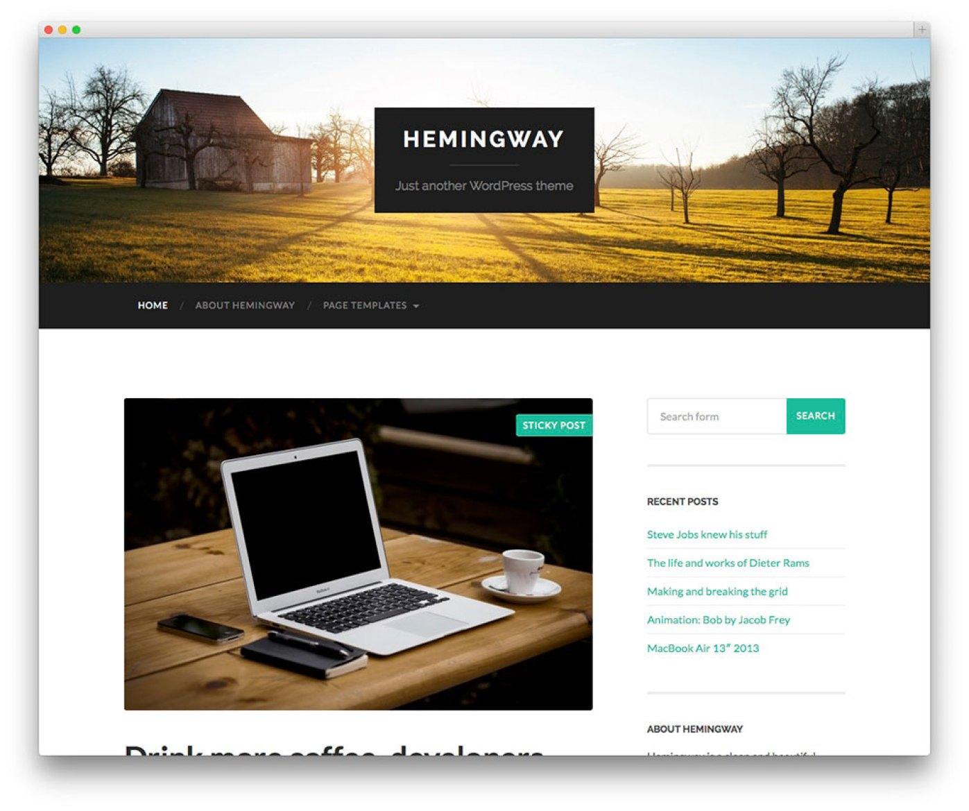 Hemingway - Livre tema blog pessoal