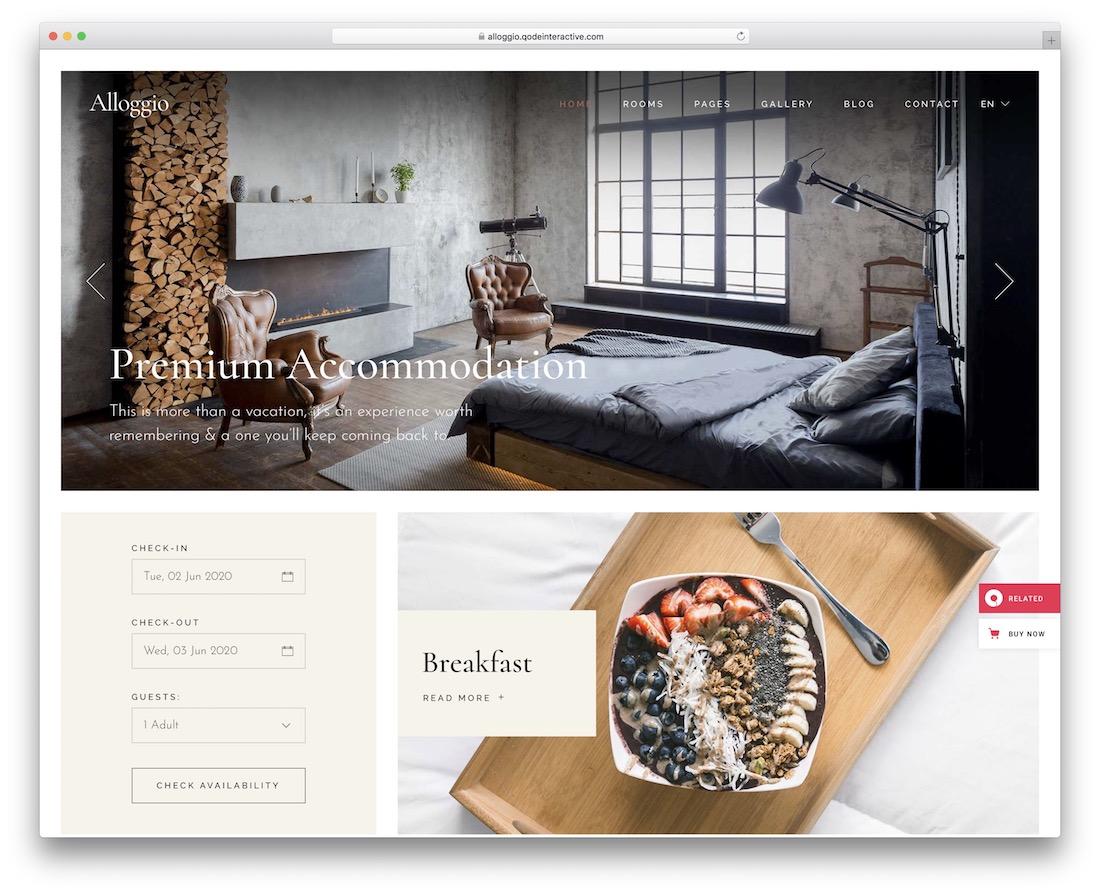 alloggio hotel website template