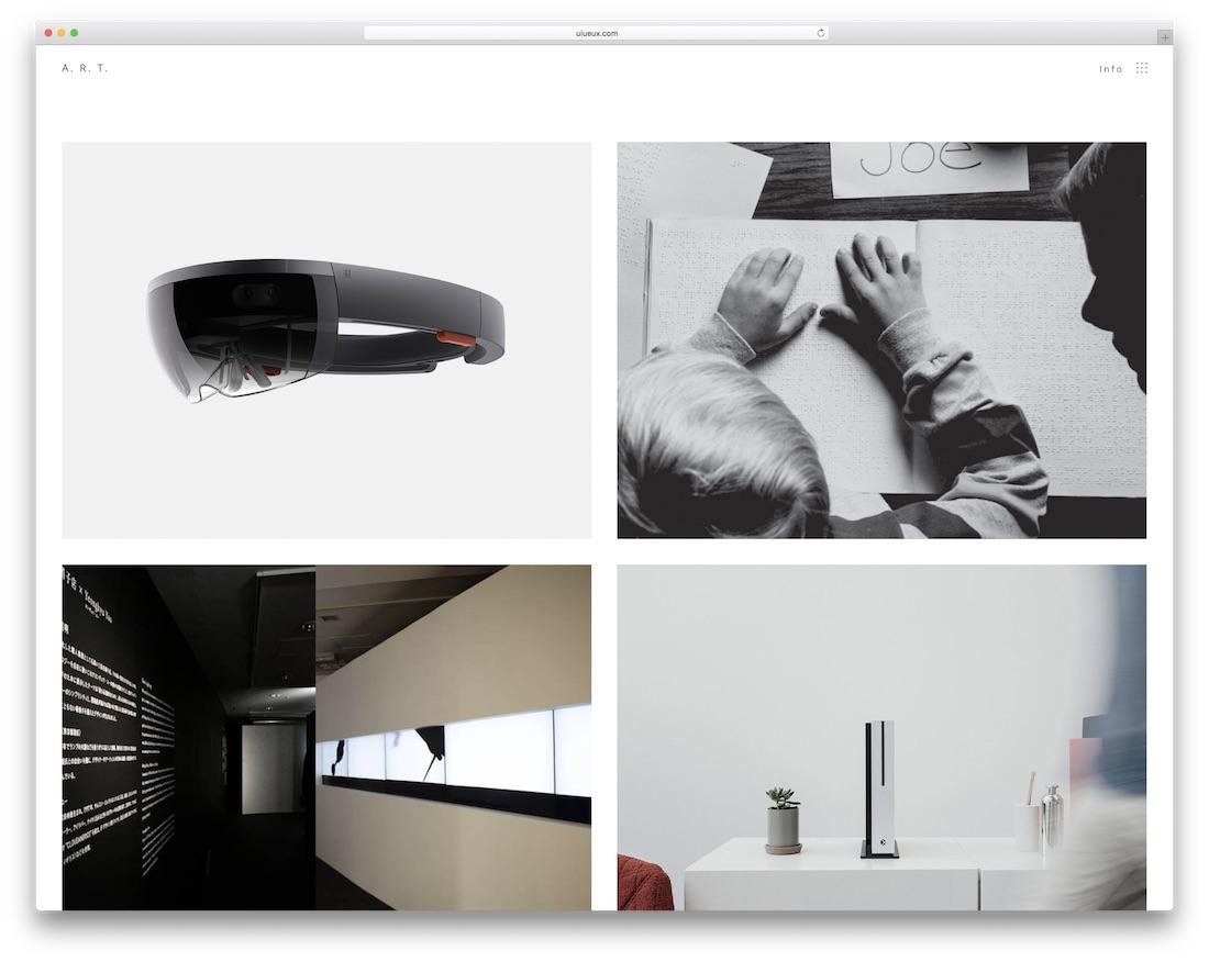plantilla de sitio web de galería de arte