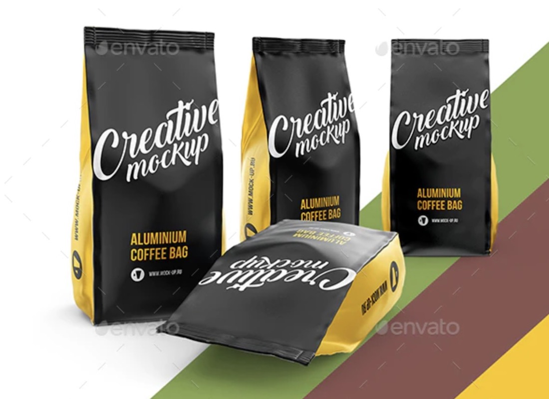 conjunto de maqueta de bolsa de café
