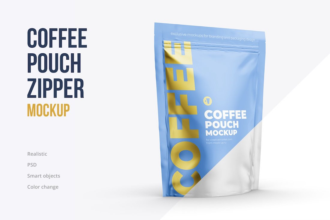 maqueta de bolsa con cremallera de café