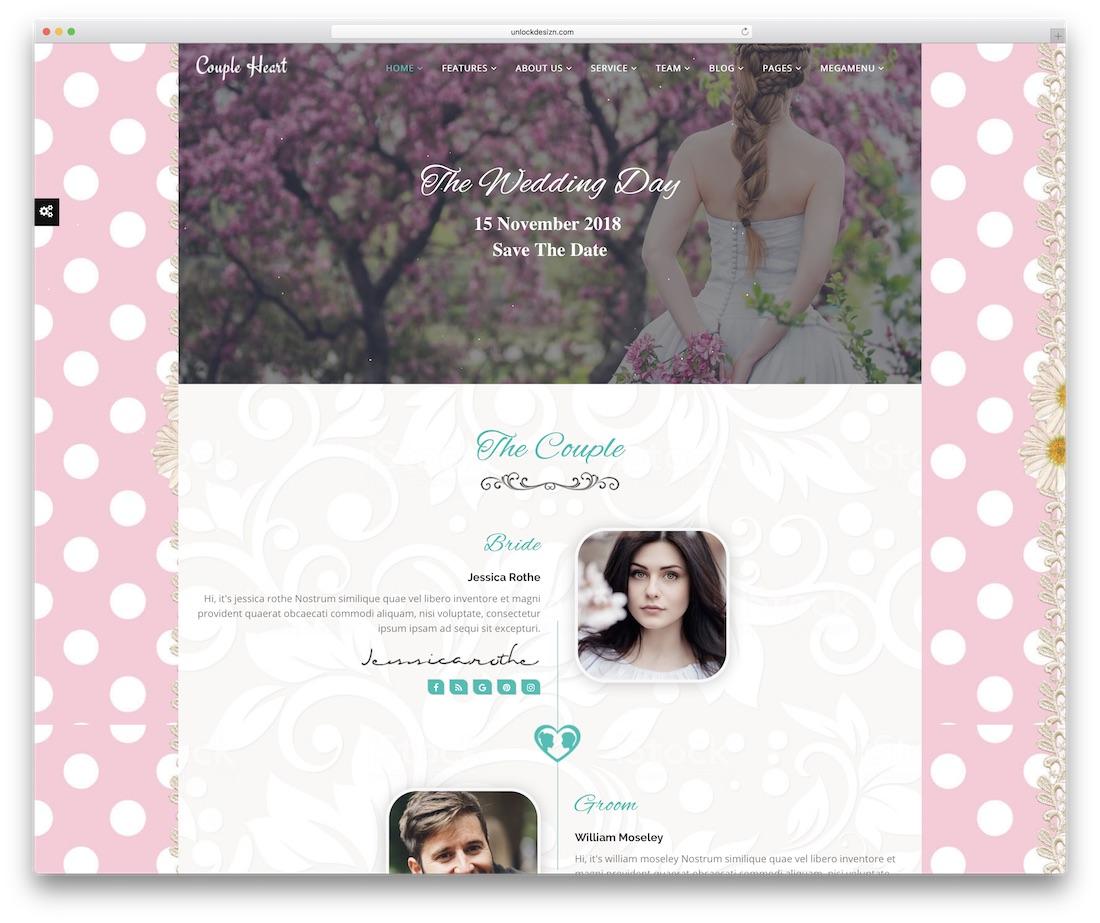 plantilla de sitio web de evento de corazón de pareja