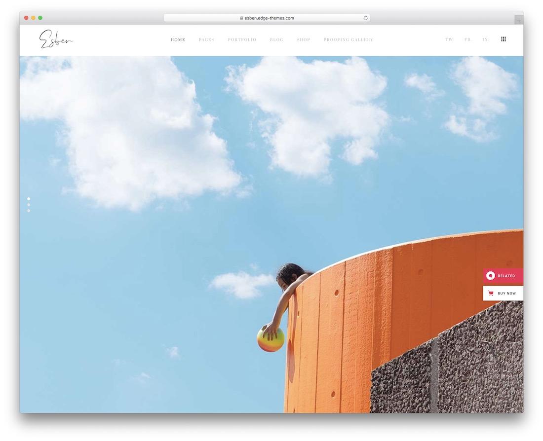 plantilla de sitio web de la galería esben