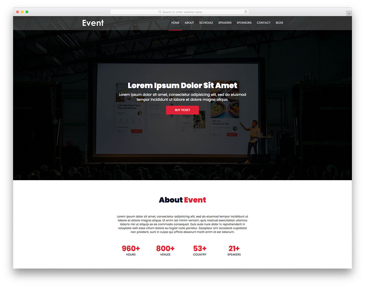 Event free template