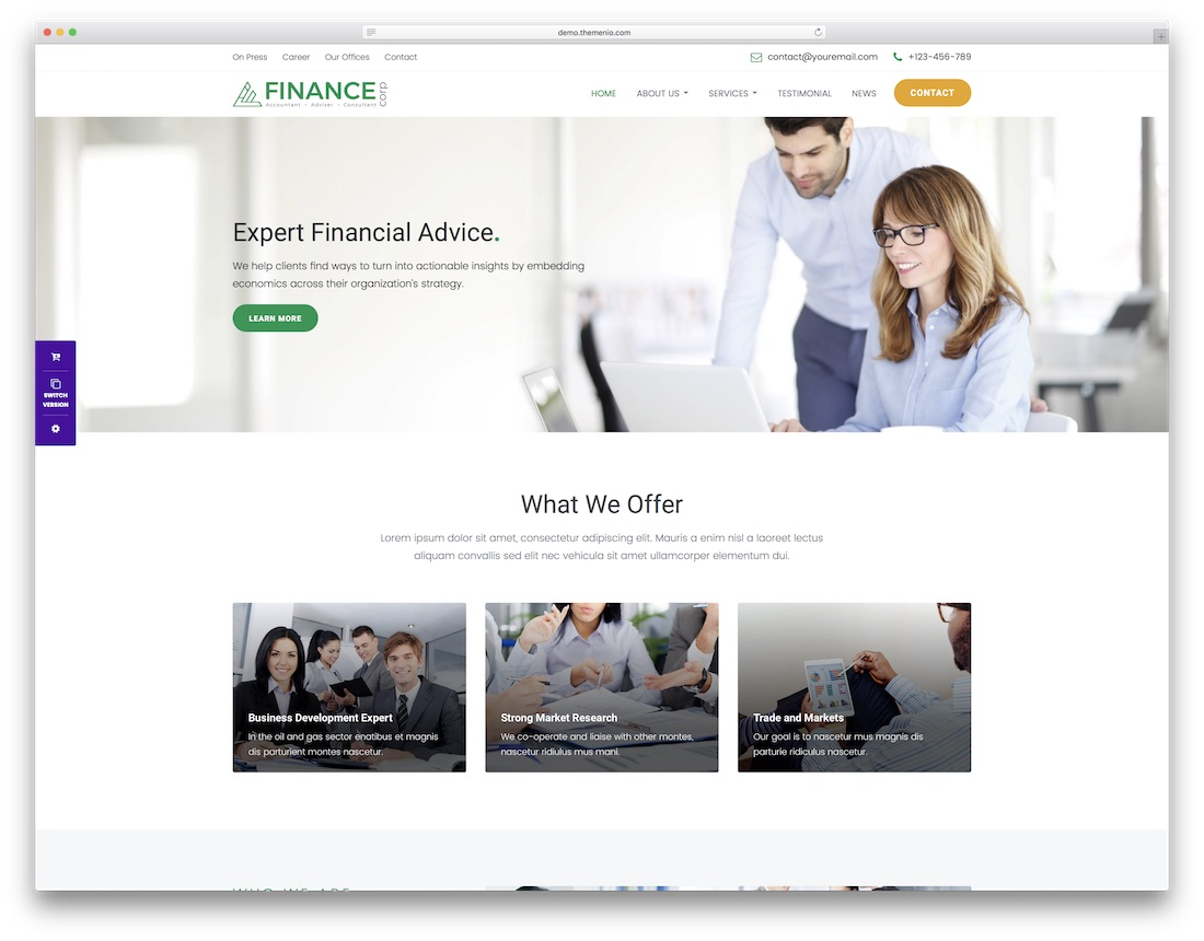 finance corp consulting website template
