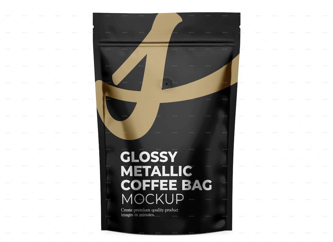 maqueta de bolsa de café metálico brillante