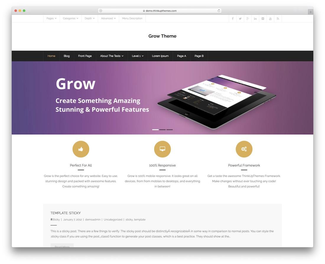 crecer noticias gratis diseño plano tema de wordpress