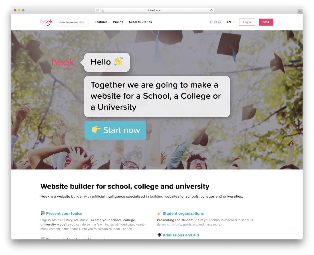constructor de sitios web para maestros y escuelas heek