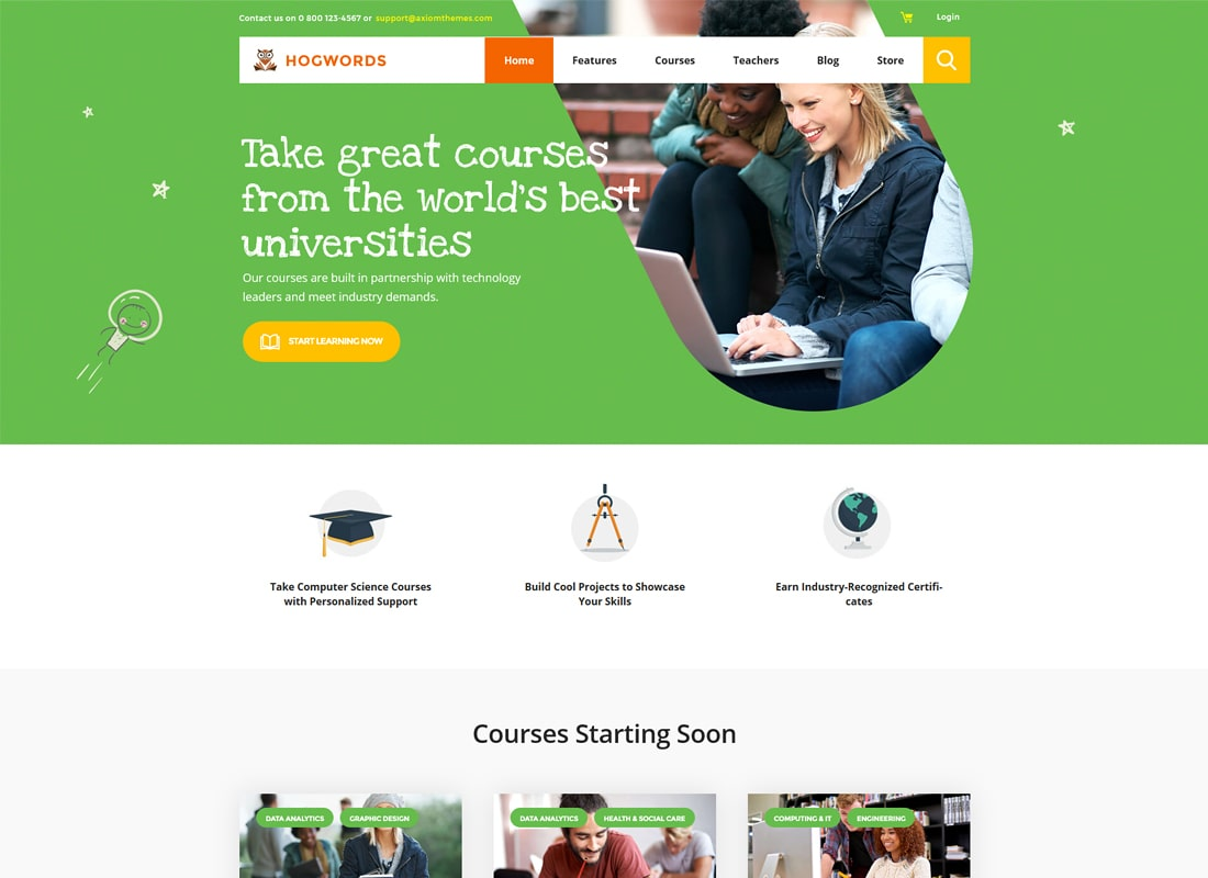 Hogwords | Centro de educación WordPress Theme