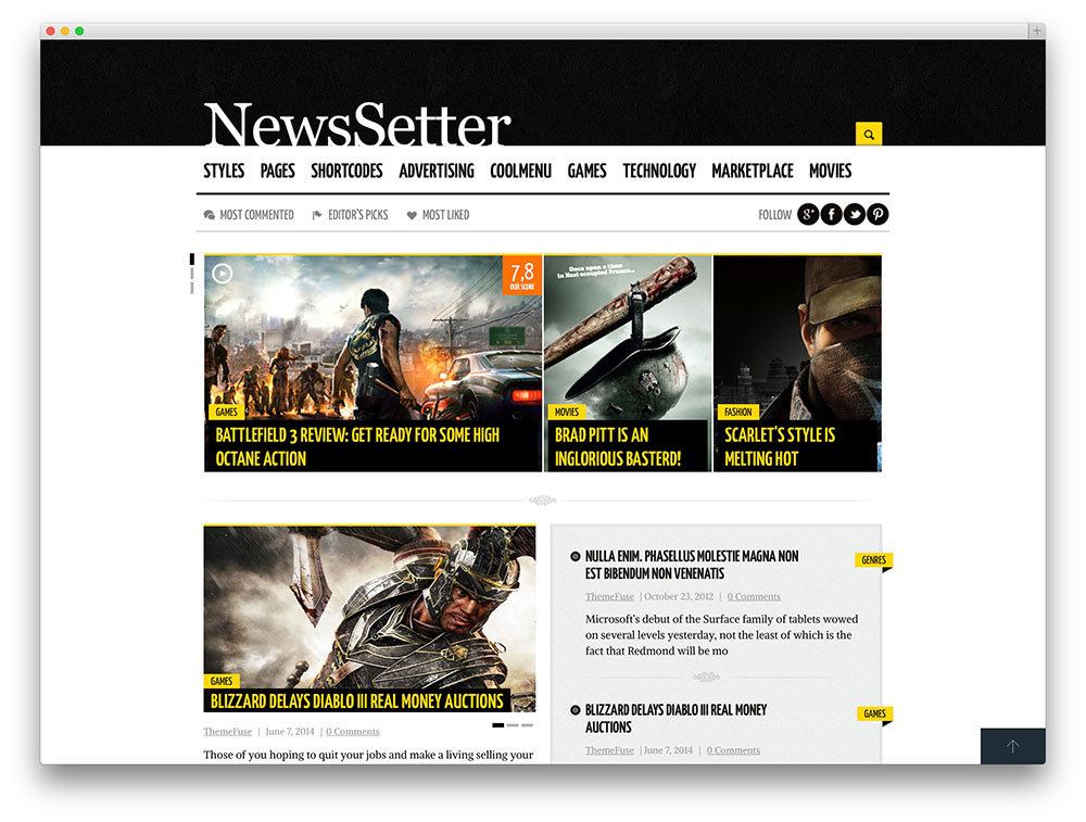 newssette - magazine style gaming theme