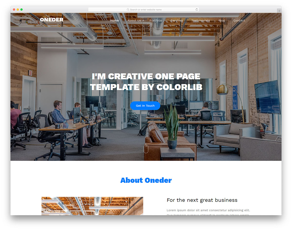 Oneder Free Template