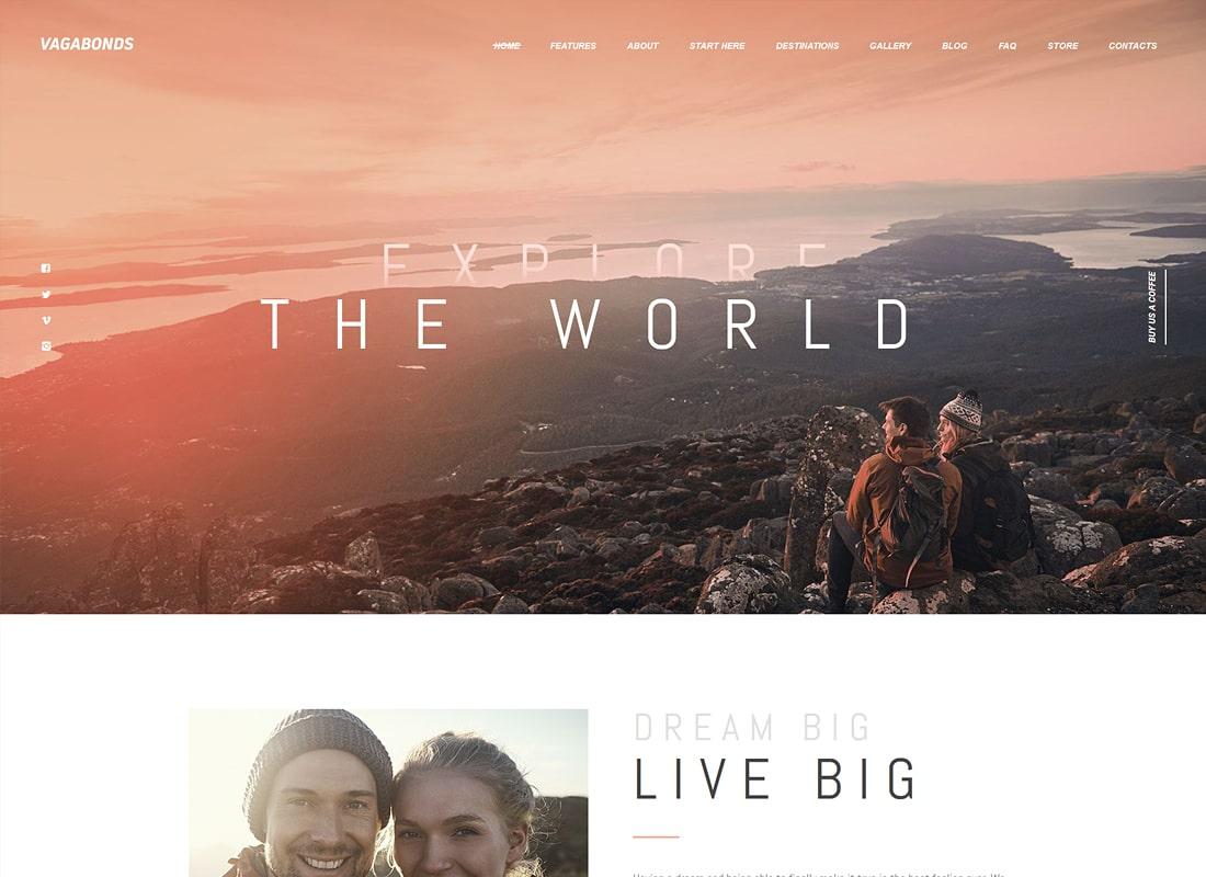 Vagabundos | Viajes personales y estilo de vida Blog WordPress Theme