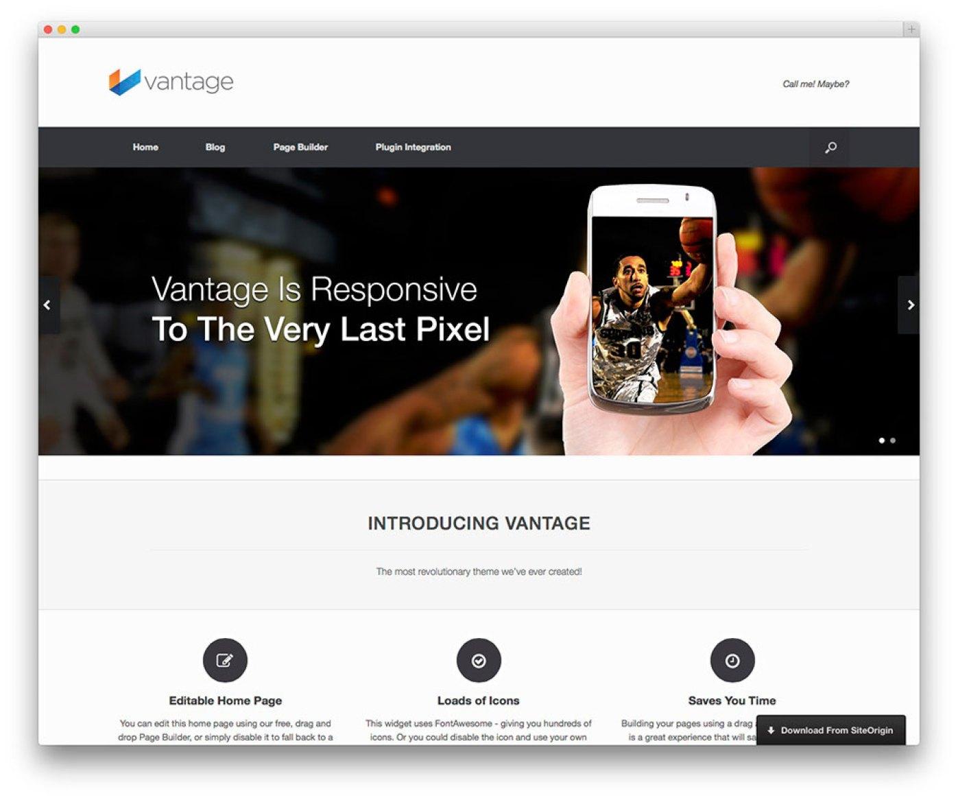 Vantage - tema vitrine aplicativo gratuito