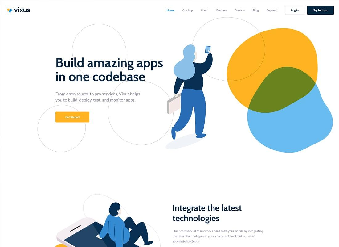 Vixus | Startup & Mobile App Landing Page WordPress Theme