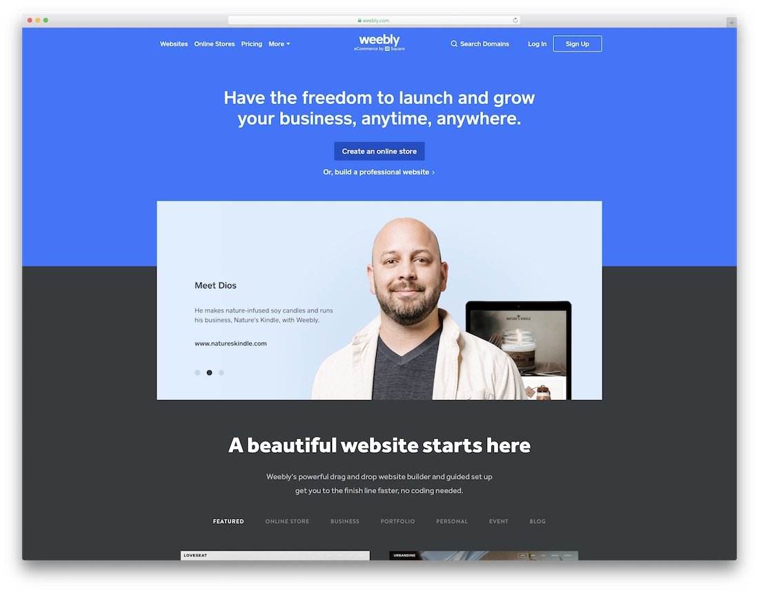constructor de sitios web de seguros weebly