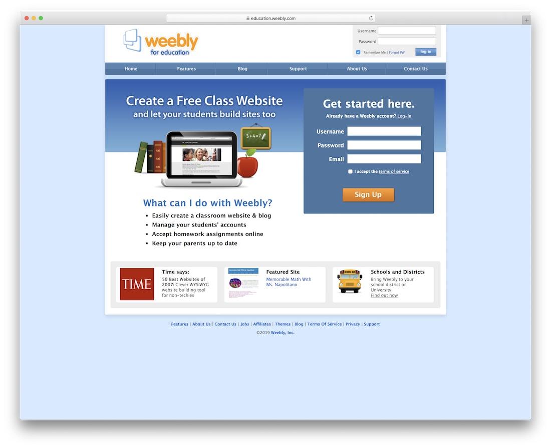 Weebly School y el creador de sitios web de maestros