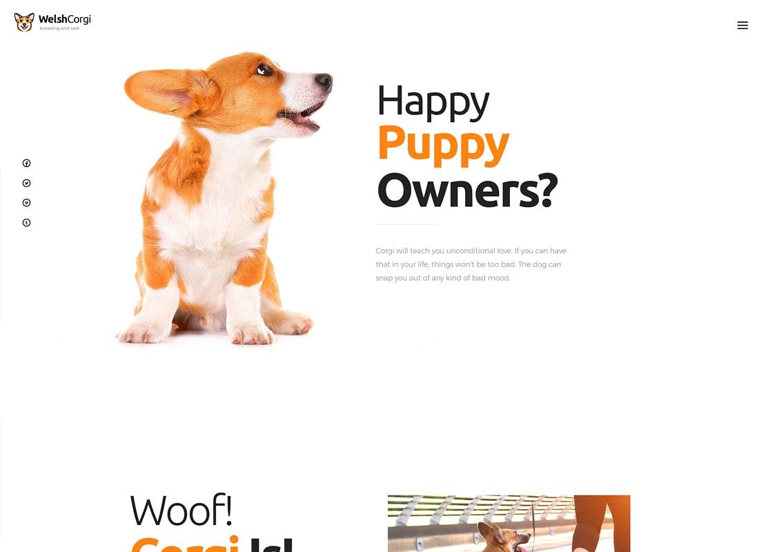 Welsh Corgi | Tema de WordPress para la cría y venta de perros