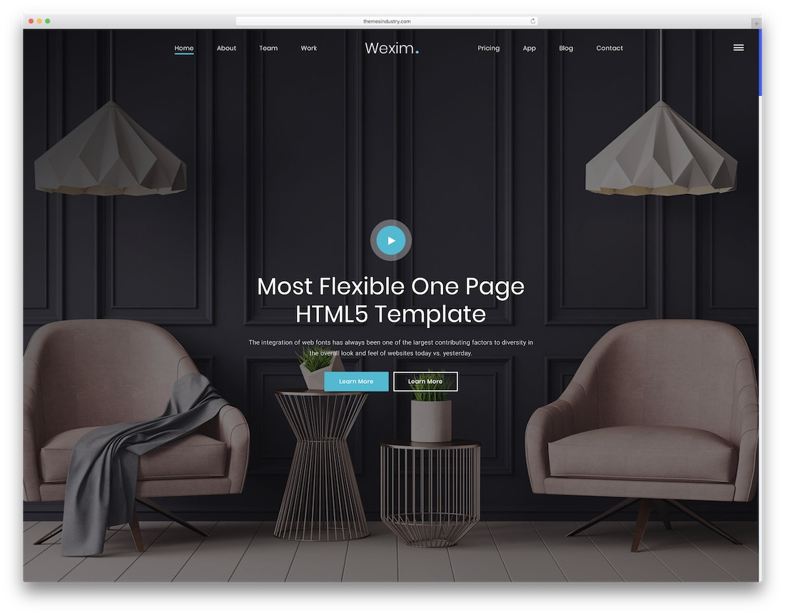 wexim html5 one page website template