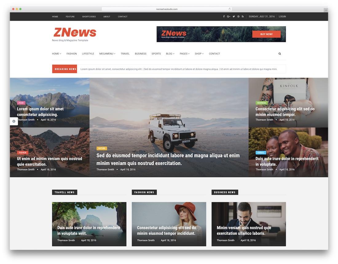 znews fashion website template