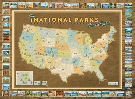 National Parks Map Poster Art