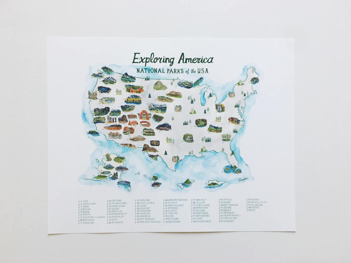 National Parks Map Poster Art