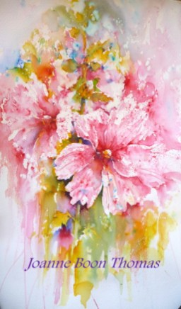 Brusho artist: pink hollyhocks boon thomas