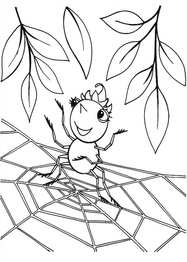 Cute Spider Girl Standing On Spider Web Coloring Page