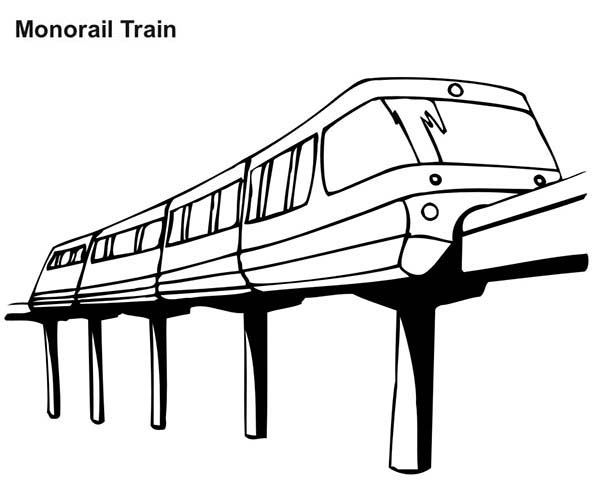Monorail Train Coloring Page Color Luna