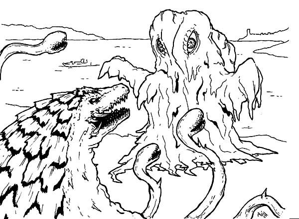 Godzilla Facing Sea Monster Coloring Pages Color Luna