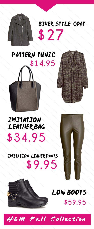 These are some of the exciting new items in H&M's fall line. Essas são algumas das roupas e acessórios da nova campanha.